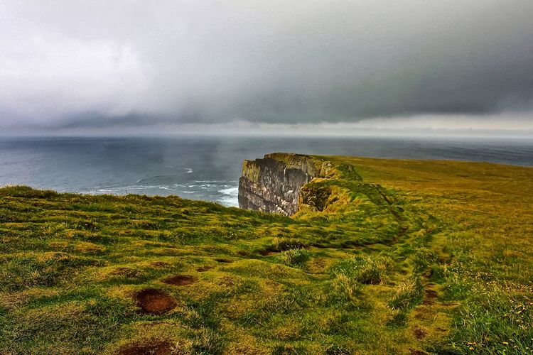 Beauty In Nature Cliffs Coastline Grass Horizon Over Water Iceland Iceland_collection Landscape Latrabjarg Nature Sea