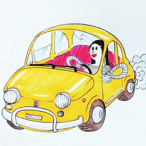 A spasso con stile ;) inchiostro su carta, © Tag&Bab Ill. Ylenia Marino, 2016. Hi! Lovely Girl Illustration Today Eyeemitalia Sketch Cinquecento 500L Italianstyle Yellow Car