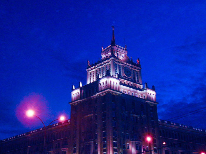 Night Sky City Façade No People Architecture Illuminated Blue Tourism Cityscape Russia MoscowSpire  Lens Flare Outdoors Street Light Building Exterior Low Angle View Electric Light Москва Россия City Life Walking