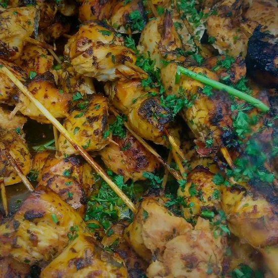 chicken kebobs. photo by Shell Sheddy Chicken Meat Food Kebab Shellsheddyphotography Sheshephoto Food And Drink Full Frame Multi Colored Backgrounds Close-up Redefining Menswear