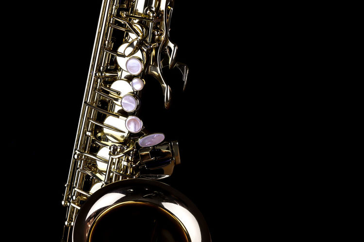 Music Instrument Alto Saxophone, Saxophone Isolated on black Musical Instrument Music Studio Shot Arts Culture And Entertainment Indoors  Black Background Wind Instrument Copy Space Metal Musical Equipment Close-up Saxophone Shiny Brass Brass Instrument  No People Still Life Gold Colored Jazz Music Cut Out Silver Colored Stage