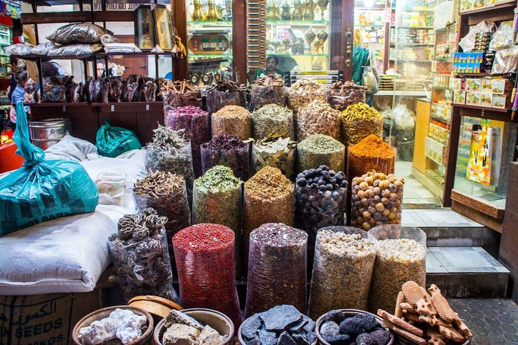Various spices for sale at market