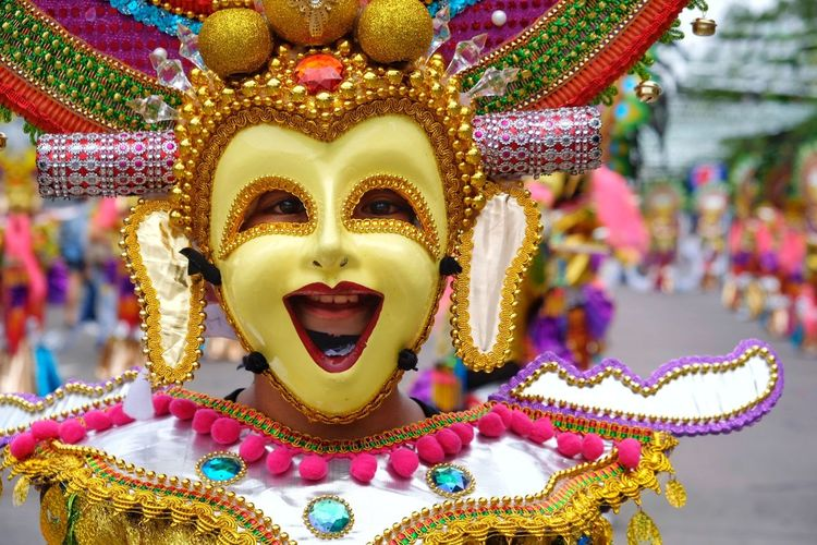 Close-up portrait of woman wearing costume during carnival