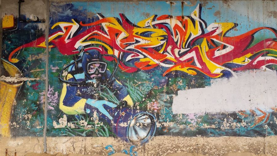Graffiti on a concrete wall near the beach depicting some fish and a female scuba diver holding a torch Les Sables D'Olonne SCUBA Art Beach Diver Graffiti Marine Marine Life Multi Colored Mural No People Outdoors Street Art