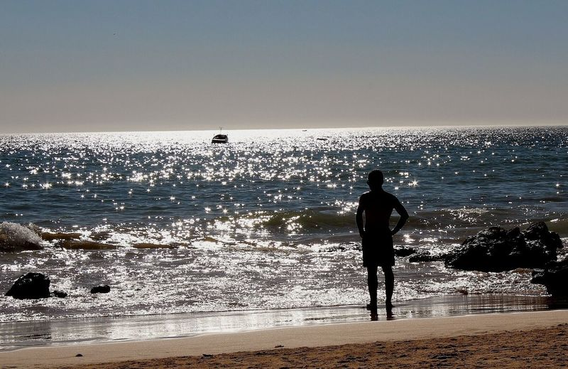 Silhueta Premium Photo Premium Selection Sea Beach Sand Horizon Over Water Only Men Silhouette One Man Only Wave Water One Person Nature Vacations Sunlight