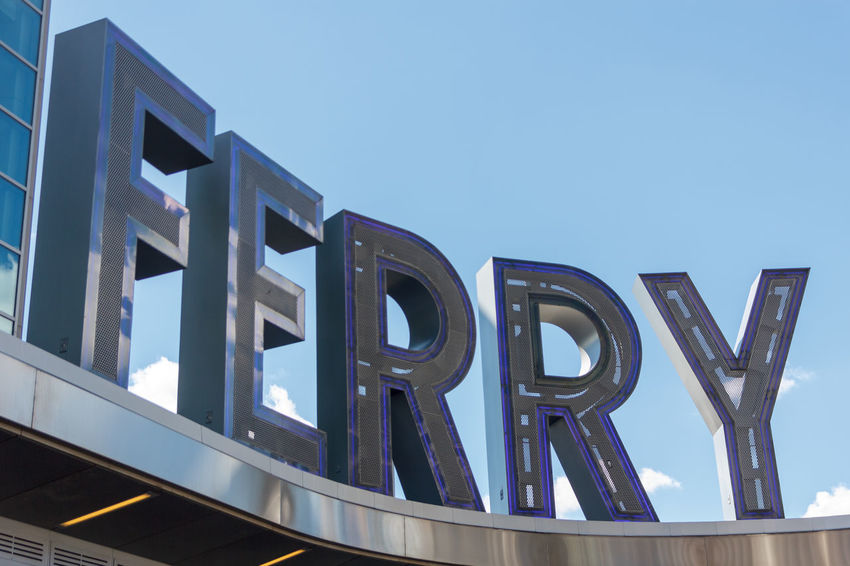 Ferry. Architecture City Downtown Ferry Letters Manhattan Modern Sign Signage Staten Island Ferry Terminal Text Urban Writing