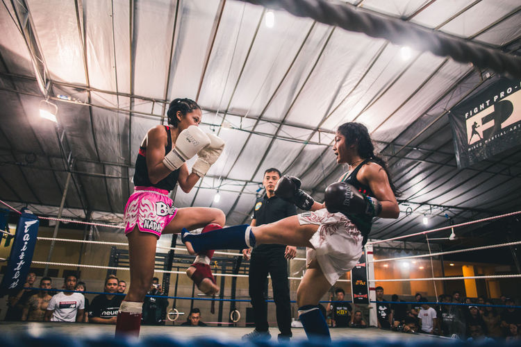 Look them in the eye. International Women's Day 2019 Real People Sport People Women Boxing - Sport Vitality Motion Lifestyles Boxing Ring Muay Thai Kickboxing Kicking Fitness Strength Power Young Women Sportswoman Fight