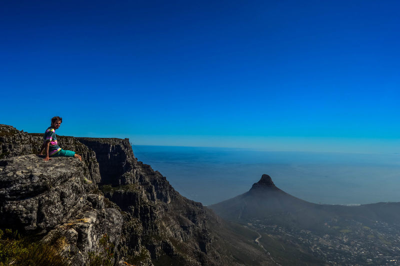 On top of Table Mountain, with a view over Lion's Head and Cape Town Cape Town Capetown Landscape Lion's Head Mountain Mountain Peak South Africa Table Mountain Table Mountain National Park Table Mountain View Top Of Table Mountain Tourist Travel Destinations Vacations View