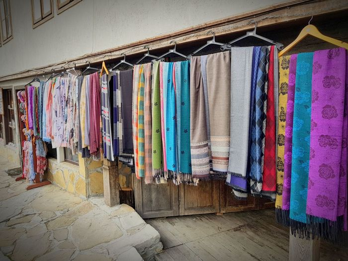 Color scarves Scarf Scarves Bulgaria Tryavna Small Business Store Street Streetphotography Warm Multi Colored Hanging Variation Drying Textile Clothesline Cloth For Sale Market Stall Street Art Market Colorful