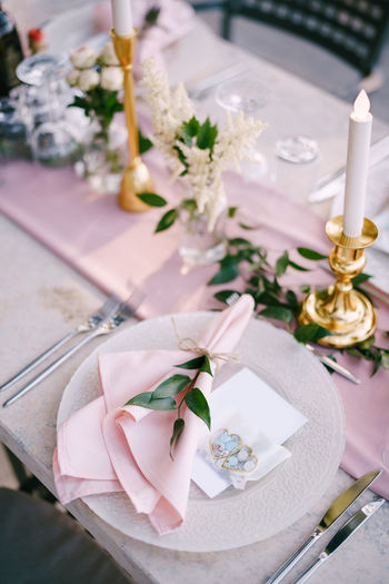 High angle view of flower bouquet on table