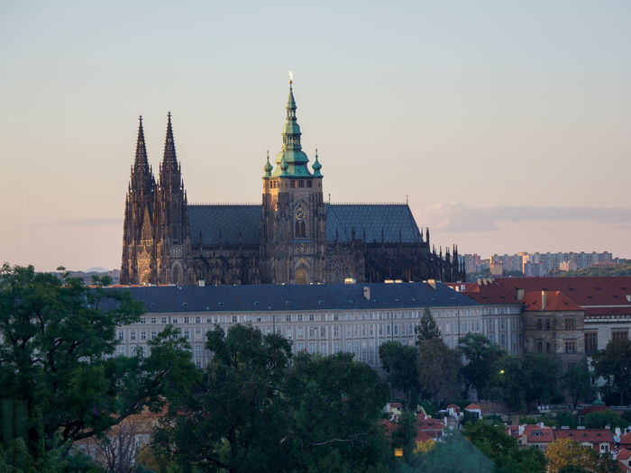 Prague castle at sunset time Prague Castle Building Exterior Built Structure Architecture Sky Building Travel Destinations Nature City Travel History The Past Tourism No People Tower Outdoors Religion Place Of Worship Cityscape Spire  Sunset