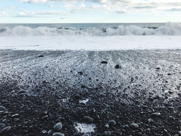 Black beach Iceland Cold Temperature Nature No People Beauty In Nature Sea Sky Scenics Beach Landscape Outdoors