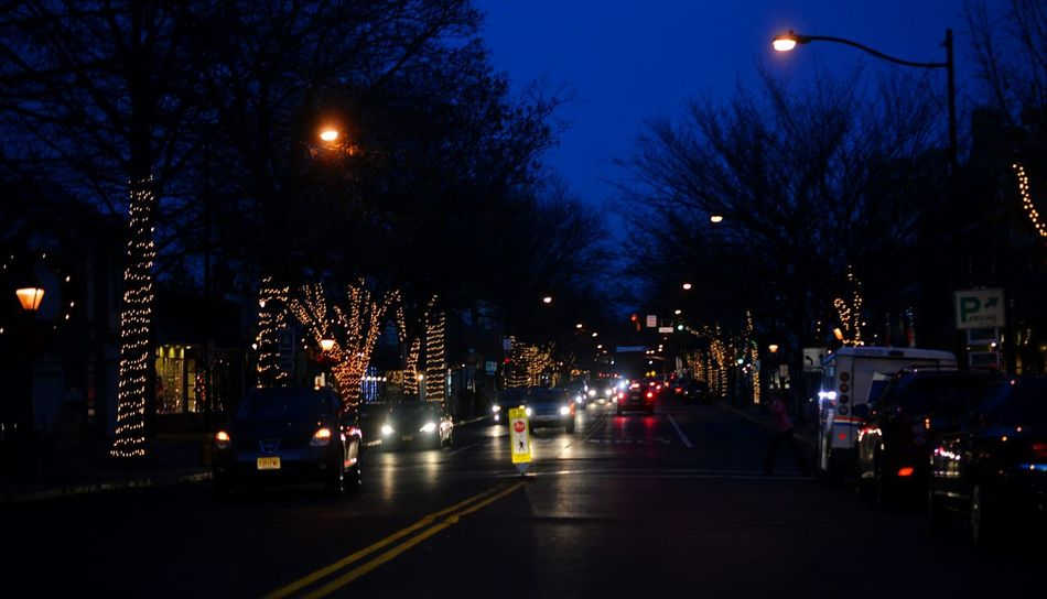 Showcase: December Night Photography Night Lights Haddonfield New Jersey Xmas Lights  Taking Photos Street Photography Check This Out Cars Car Lights Tree Silhouette Dusk Colorful Colors Blue Sky