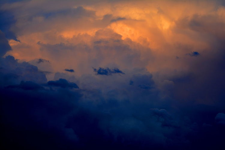 Backgrounds Beauty In Nature Blue Cloud Cloud - Sky Cloudscape Cloudy Cloudy Sunset Dark Deep Blue Dramatic Sky Full Frame Nature No People Orange Color Outdoors Overcast Scenics Sky Sky Only Sunset Tranquil Scene Tranquility Weather