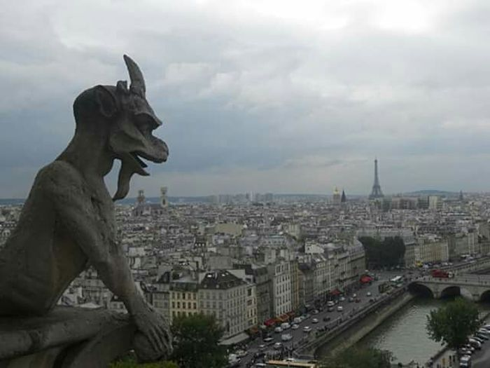 View from Notredame de Paris balcony Paris Notre Dame De Paris World From Above Gargoyle City View  Cloudy Sky Shades Of Grey Shoot Monster Eye4photography  EyeEm Best Shots Fresh On Eyeem  Eiffel_tower  No Filter, No Edit, Just Photography