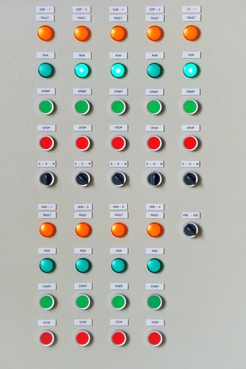 Control panel board Name Plate Stop Start Selector Pilot Lamp LED Electrical In A Row No People Control Multi Colored Close-up Architecture Control Panel Push Button Number