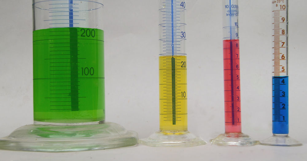 Colored Measuring Amount Close-up Glass Indoors  Instrument Of Measurement Laboratory Liquids  Milliliters No People Science Scientific Experiment