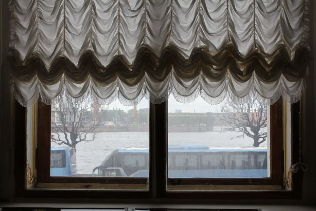 Old-fashioned Russia Architecture Building Built Structure Cold Temperature Curtain Day Glass - Material Histrorical Places House Indoors  Looking Through Window Mountain Nature No People Old Curtains Pattern Transparent Tree Window Window Frame