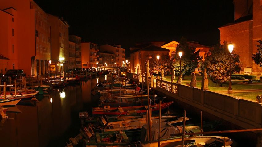 Chioggia, Italy Goldoni Italy Veneto Chioggia Illuminated Night Architecture Canal City Life Outdoors No People Old Town Statues Past Boats Stillness Oldstuff Beauty Calm Nightphotography EyeEm Best Shots EyeEm Gallery Overnight Success