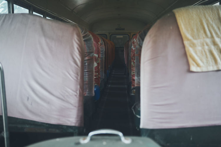 Rear view of train in bus