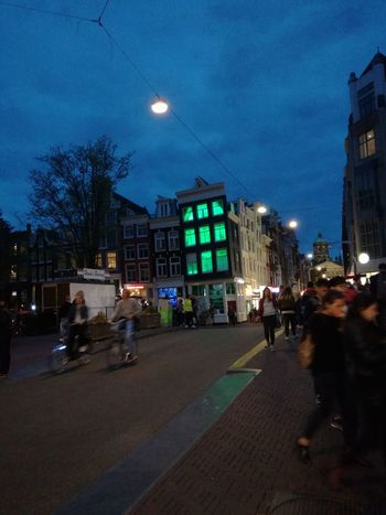 Night Illuminated Architecture Built Structure City Nightlife People Amsterdam City Day
