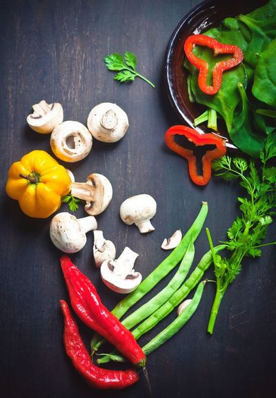Fresh vegetables. Organic food Collage Vegan Vegetable Raw Food Food Food And Drink Spice Freshness Ingredient Healthy Eating Red No People Directly Above Red Bell Pepper Garlic Large Group Of Objects Preparation  High Angle View Green Color Pepper - Vegetable