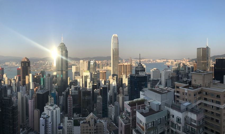 Hong Kong panorama at sunset Hong Kong Building Exterior Architecture Office Building Exterior Building Skyscraper Cityscape Tall - High Sky City Urban Skyline Travel Destinations Financial District  Crowded Modern The Traveler - 2019 EyeEm Awards