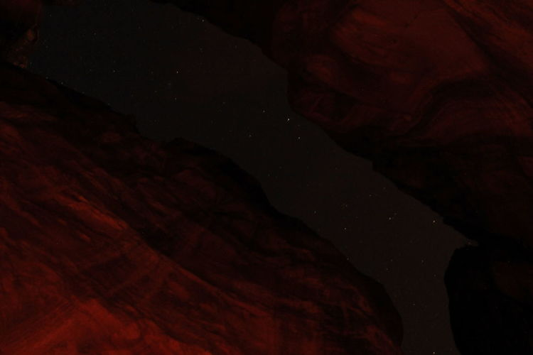 Close-up of rock formations at night