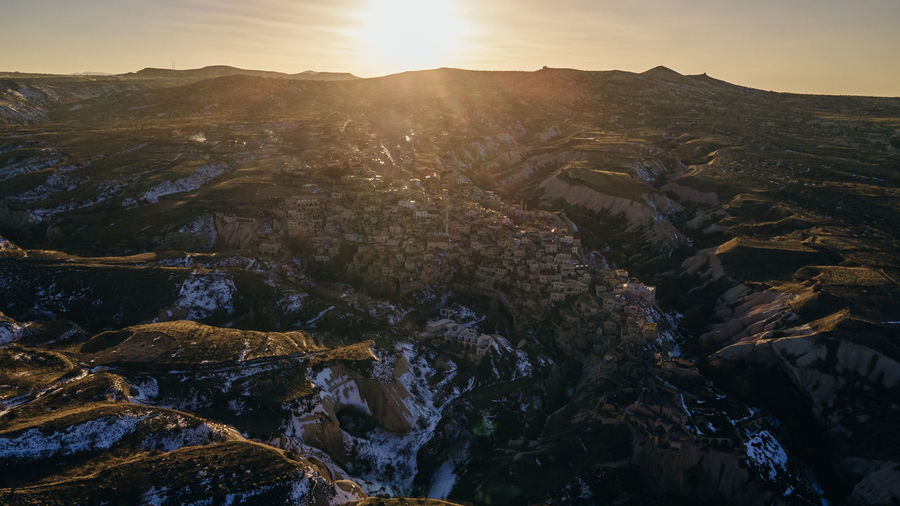 High angle view of landscape against sky during sunset