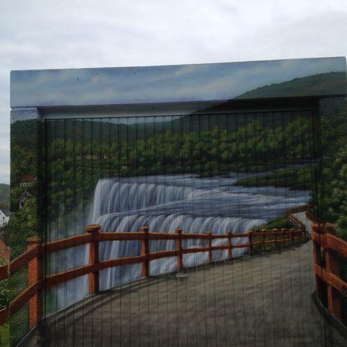 Art Bild Auf Garage Garage Kunst Outdoors Rural Scene Trugbild Wandmalerei