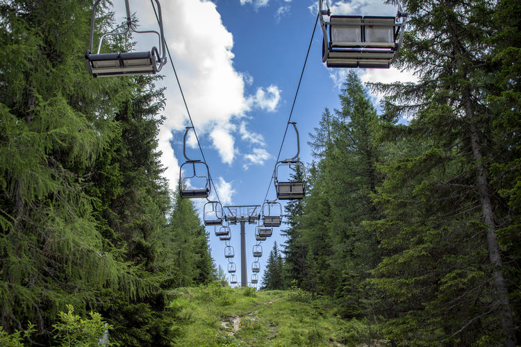 Architecture Bridge Bridge - Man Made Structure Built Structure Cable Chair Lift Cloud - Sky Connection Day Forest Green Color Growth Land Nature No People Outdoors Plant Rail Transportation Sky Transportation Tree
