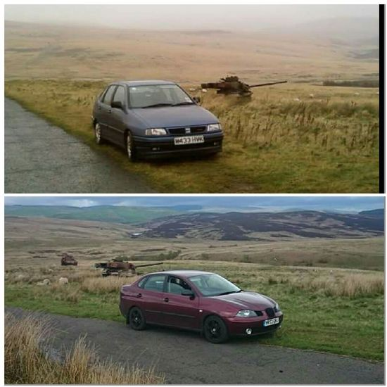 Mk1 and mk2 seat cordoba mixing in with the range wrecks at otterburn approximately 7 years apart. Linshiels lake and the cheviot foothills are in the background NorthumberlandSeat Cordoba 6k Seat Cordoba 6l Otterburn Ranges Range Wrecks Cheiftain Tank Linshiels Lake Northumberland National Park Cheviothills