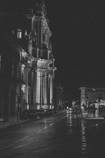 Architecture Black And White Illuminated Night Old Town Outdoors Rain Rainy Sky