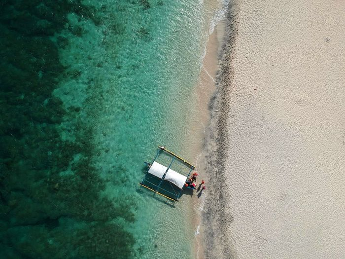 Above the sea Droneshot Sea And Sky White Sand Beach White Sand Vacation Boat Shoreline Beautiful Beach Beach Philippines Photos Zambales Capones Island Water Nautical Vessel Aerial View High Angle View Summer