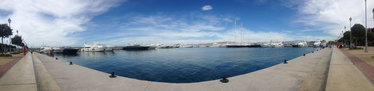 Panorama Marina Flisvou Blue Sea Clean Sky Shinny Day Colourfull Relaxing Enjoying The View Yatch Marine Sea And Yatch Greece Athens Hellas