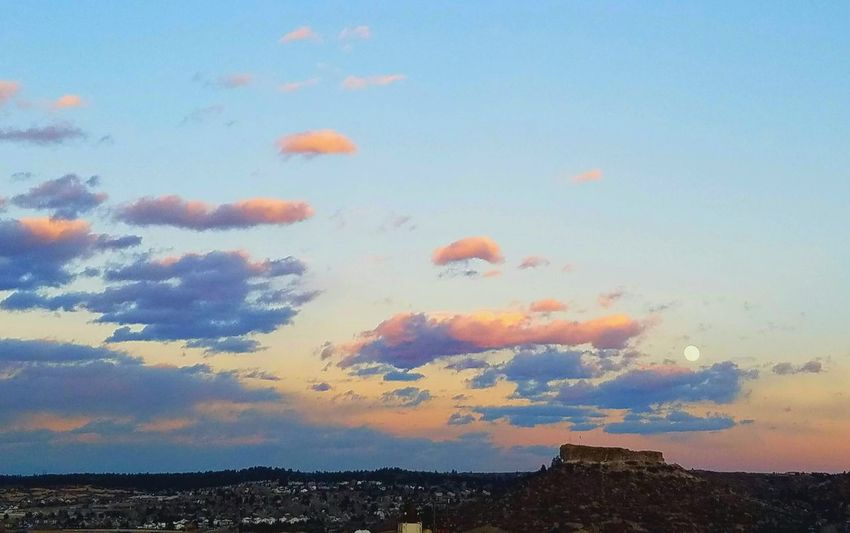 Sky Outdoors No People Nature Sunset Beauty In Nature Day Moon Castle Rock, Co Castle Rock Sunset_collection Sunset And Clouds  Sunset Colors Sunset Pictures