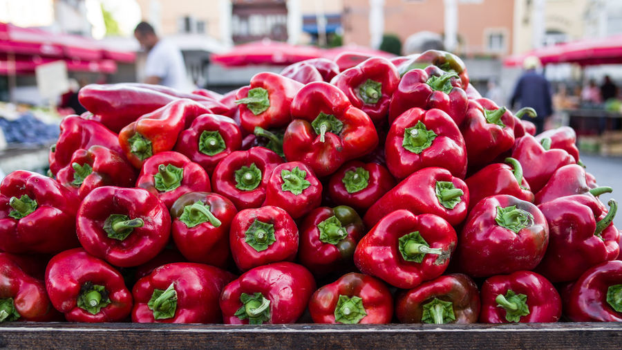 Close-up of red for sale at market stall