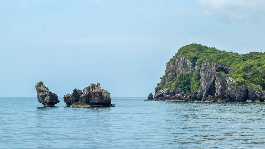 Water Sea Rock Rock - Object Solid Scenics - Nature Nature Waterfront Tranquil Scene Nautical Vessel Tranquility No People Non-urban Scene Rock Formation Beauty In Nature Sky Day Land Idyllic Outdoors