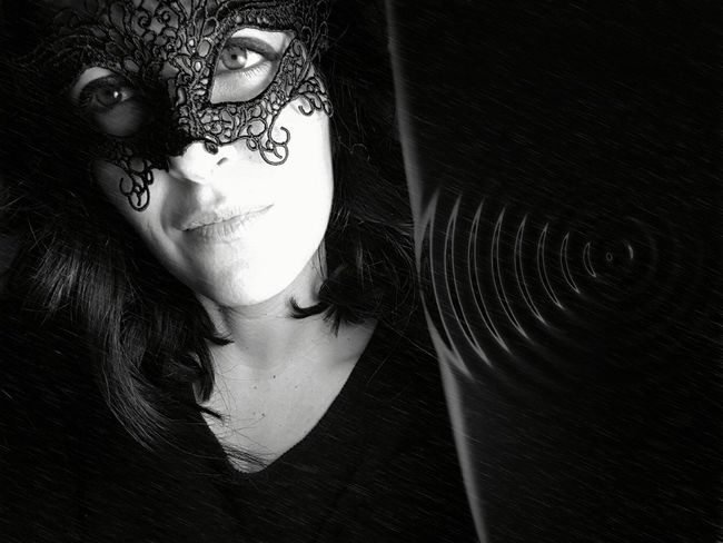 Mistery Blackandwhite Beautiful EyeEm Best Shots People Photography Monochrome Portrait Of A Woman Women Faces Myself Portrait Blackandwhite Photography Mask Mistery Misterious One Person Only Women Adults Only One Woman Only Adult People Young Adult One Young Woman Only Close-up Young Women Black Background Beautiful Woman Real People Human Body Part Day