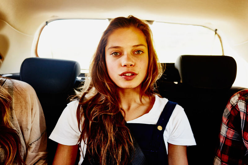 Car Car Interior Day Front View Land Vehicle Looking At Camera One Person Portrait Real People Sitting Transportation Vehicle Interior Young Adult Young Women
