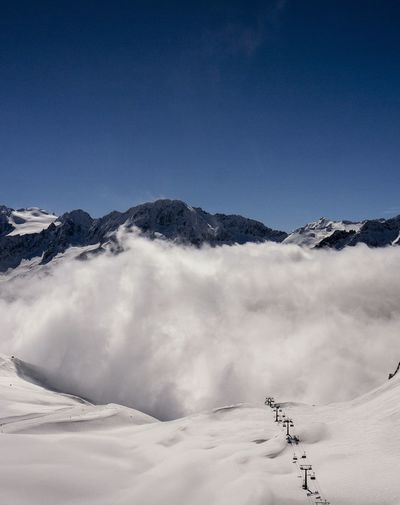Sky And Clouds Skiing Mountain View Landscape Fog The Traveler - 2015 EyeEm Awards La FranceProtecting Where We Play Edge Of The World The Alps
