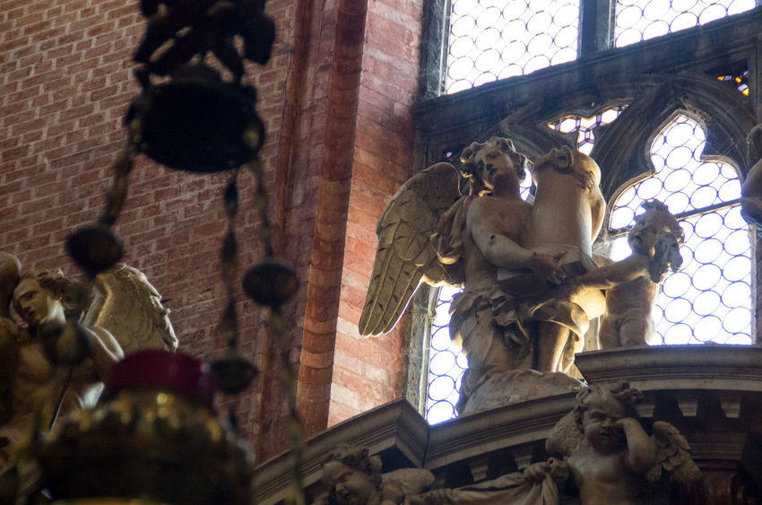 Angel Architecture Church Church Of The Brothers Day Europe Human Representation Italy Low Angle View No People Renaisa Renaissance Santa Maria Gloriosa Dei Frari Sculpture Statue Venice Venice, Italy Window