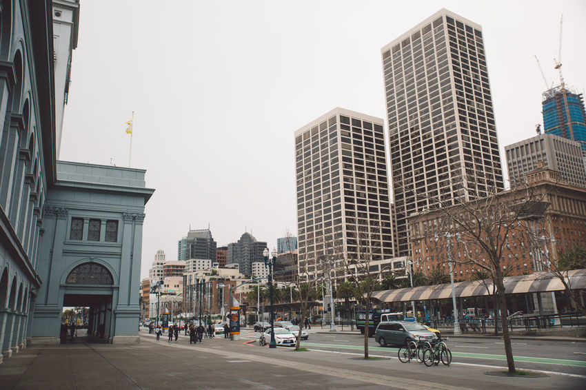 2017 Architecture Building Exterior Built Structure Car City Clear Sky Day February Ferry Building Land Vehicle Outdoors Real People Road San Francisco Sky Skyscraper Transportation Tree