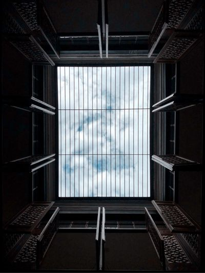 Window Glass - Material Indoors  Architecture No People Built Structure Cloud - Sky Geometric Shape Pattern Building Directly Below Reflection Sunlight Nature Day Sky Transparent Wall Skylight Glass