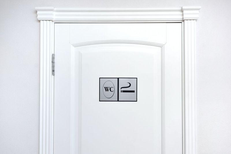 Sign Communication Indoors  Restroom Sign No People Door Entrance Bathroom Information White Color Close-up Information Sign Toilet Wc Smoking Room