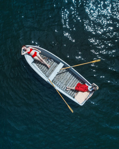 Two in a boat. Lost In The Landscape High Angle View Day Water Outdoors People Nature The Week On EyeEm Minimal Only Women Leisure Activity Young Adult Adults Only Perspectives On Nature