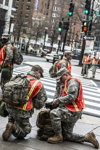Soldiers on the streets in Washington. Protester in DC in the inauguration day President Trump. Inauguration  MuslimBan President Trump Protesters Street Washington, D. C.