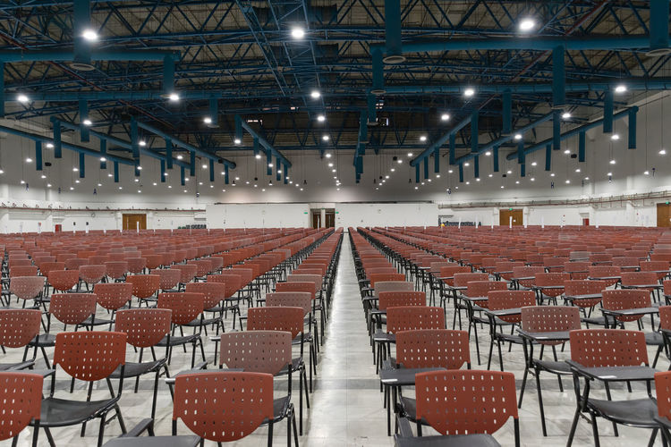 Absence Auditorium Chair Day Empty Illuminated Indoors  Lecture Hall No People Projection Equipment Seat Seminar
