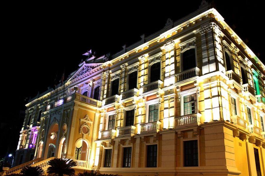 Architecture Palácio Anchieta Building Exterior Night Low Angle View Illuminated City Window Vitoria Espiritosanto Lightning