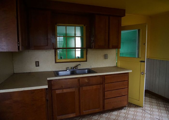 Abandoned House Green Vintage Style Abandoned Built Structure Cabinet Domestic Room Home Interior House Indoors  Kitchen No People Vintage Decor Wood - Material Yellow
